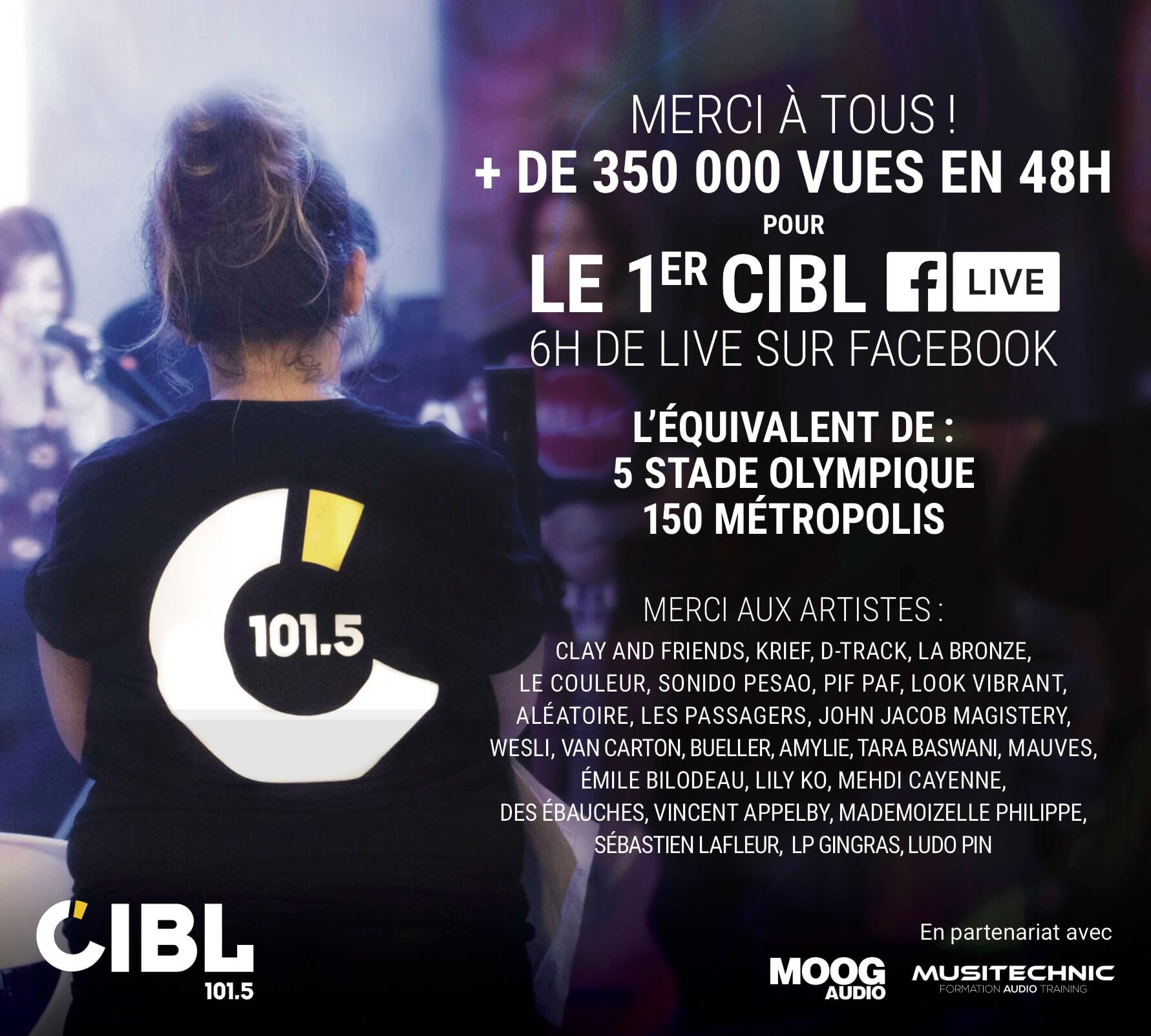 Musitechnic fier partenaire du 1er CIBL Facebook Live.
