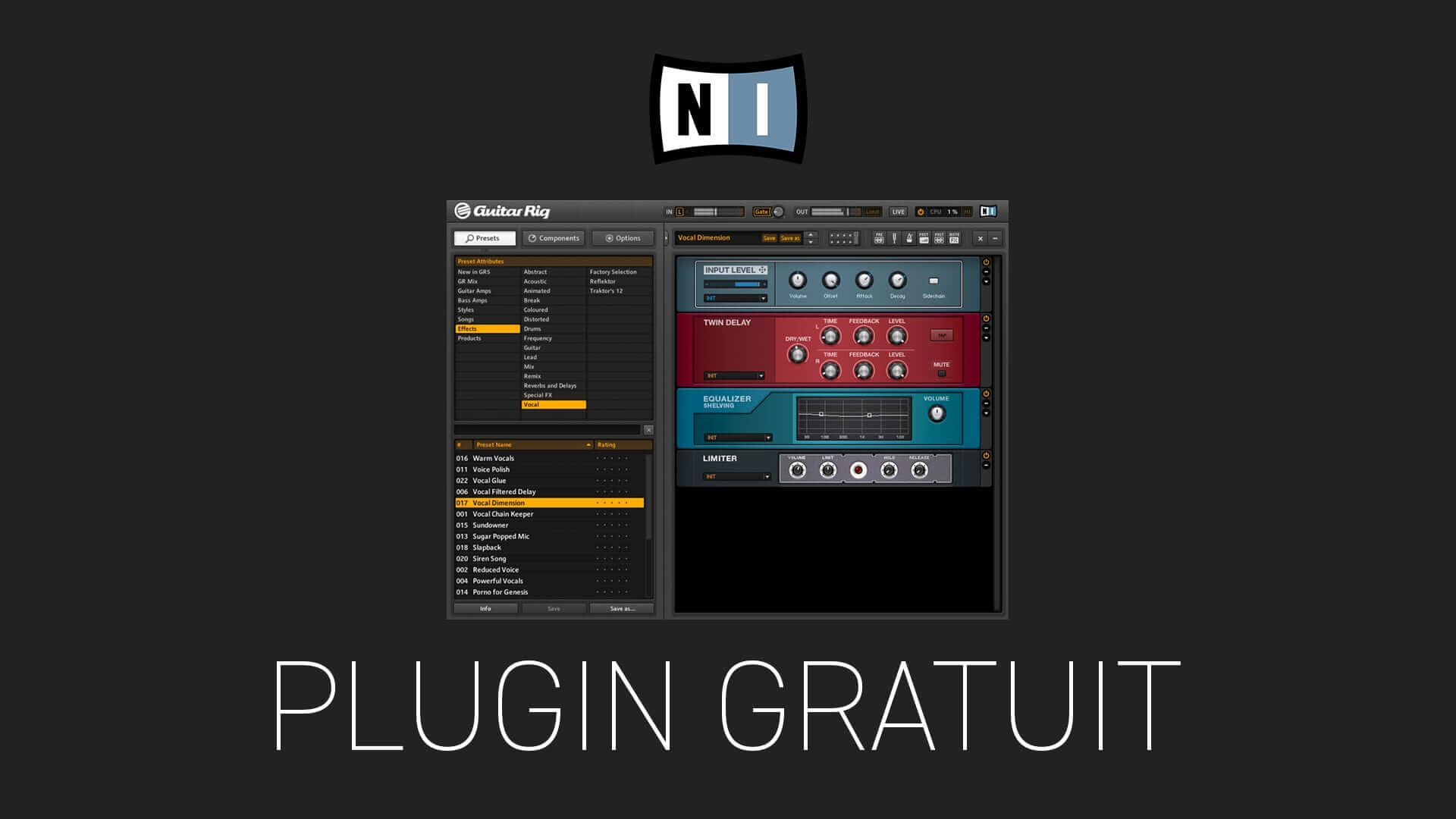 Guitar Rig 5 player de Native Instruments Plugin Gratuit