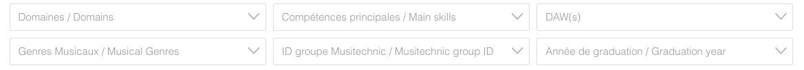 Musitechnic Alumni Platform filters