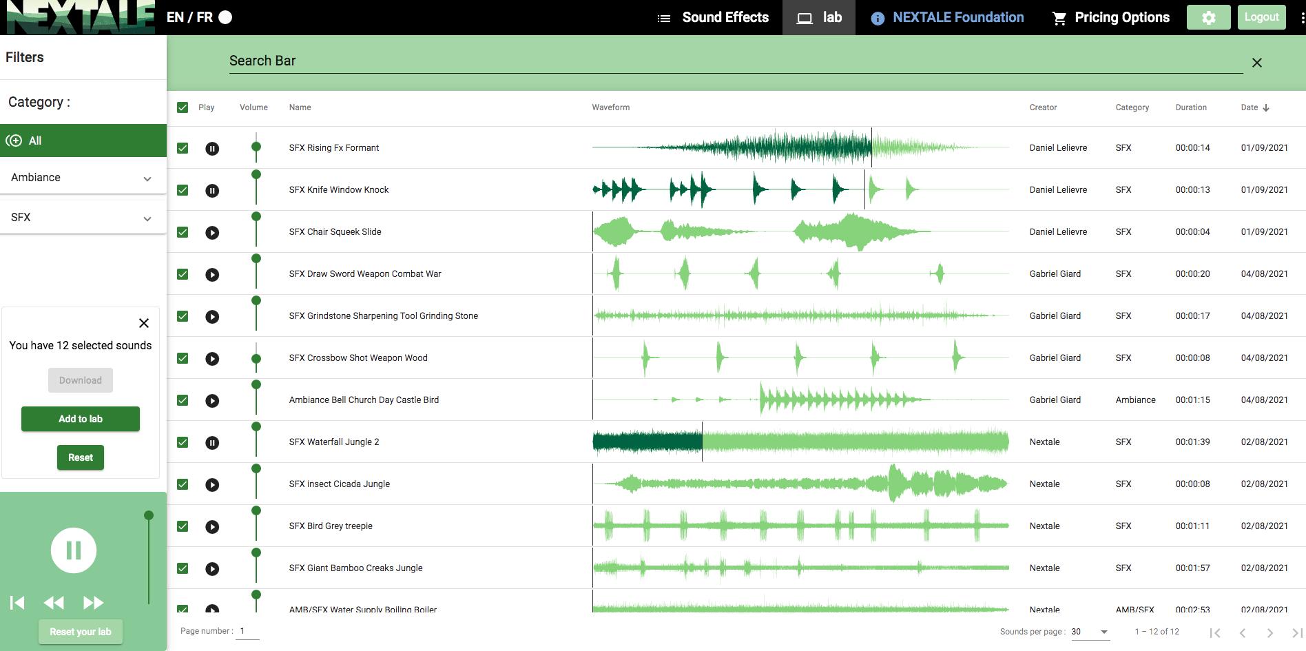 NEXTALE field recording LAB